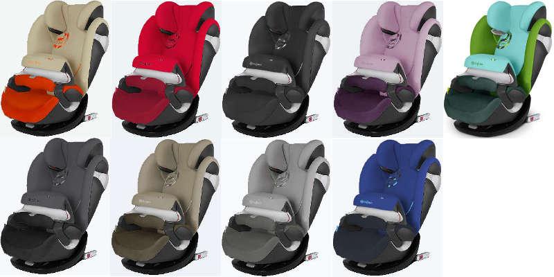 Farbvarianten des Kindersitzes